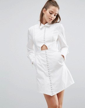photo Let It Go Long Sleeve Shirt Dress by C/meo Collective, color White - Image 1