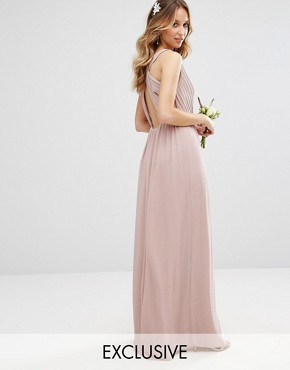 photo Pleated Maxi Dress with Back Detail by TFNC WEDDING, color Pale Mauve - Image 1