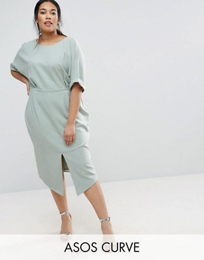 photo Smart Midi Dress by ASOS CURVE, color Sage - Image 1