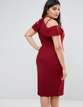 photo Pencil Dress with Strap Shoulder Detail by ASOS CURVE, color Oxblood - Image 2