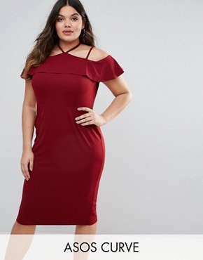 photo Pencil Dress with Strap Shoulder Detail by ASOS CURVE, color Oxblood - Image 1