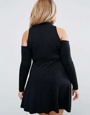 photo Skater Dress With Cold Shoulder And Key Hole High Neck by ASOS CURVE, color Black - Image 2