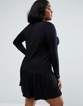 photo Swing Dress with Frill Hem by ASOS CURVE, color Black - Image 2