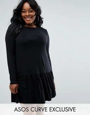 photo Swing Dress with Frill Hem by ASOS CURVE, color Black - Image 1