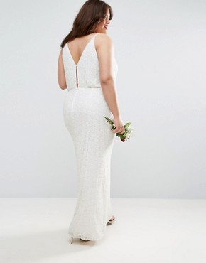 photo Cami Embellished Maxi Dress by ASOS CURVE BRIDAL, color Cream - Image 2