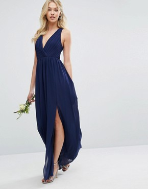 photo Pleated Maxi Dress with Back Detail by TFNC WEDDING, color Navy - Image 2