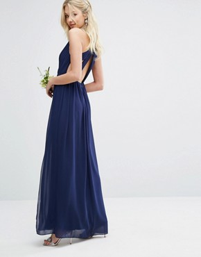 photo Pleated Maxi Dress with Back Detail by TFNC WEDDING, color Navy - Image 1
