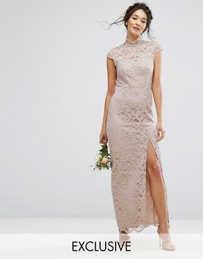 photo High Neck Lace Dress with Cap Sleeve by TFNC WEDDING, color Mink - Image 1