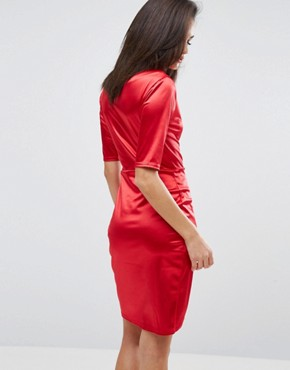 photo Wrap Front Midi Dress in Satin by Club L, color Red Satin - Image 2