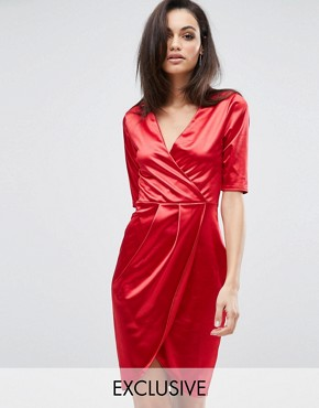 photo Wrap Front Midi Dress in Satin by Club L, color Red Satin - Image 1