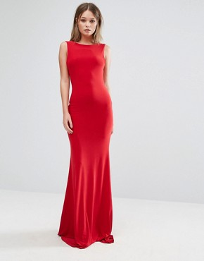 photo Deep Plunge Back Maxi Dress by Club L, color Red - Image 2