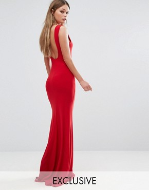 photo Deep Plunge Back Maxi Dress by Club L, color Red - Image 1