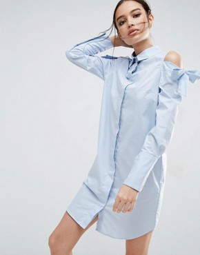 photo Shirt Dress with Oversized Cuff & Embroidery Detail by ASOS, color Blue - Image 2