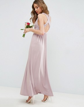 photo Drape Twist Back Maxi Dress by ASOS WEDDING, color Nude - Image 1