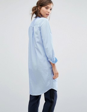 photo Shirt Dress With Tie Front Detail In Fine Stripe by Parallel Lines, color Blue - Image 2
