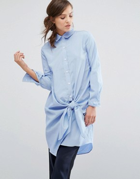 photo Shirt Dress With Tie Front Detail In Fine Stripe by Parallel Lines, color Blue - Image 1