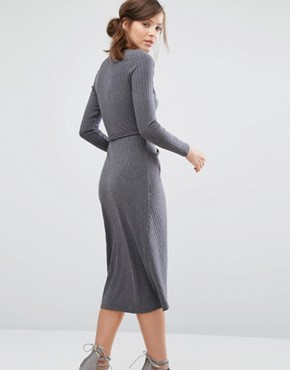 photo Knitted Wrap Front Dress In Rib by Parallel Lines, color Grey - Image 2