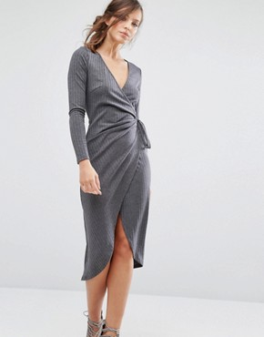 photo Knitted Wrap Front Dress In Rib by Parallel Lines, color Grey - Image 1