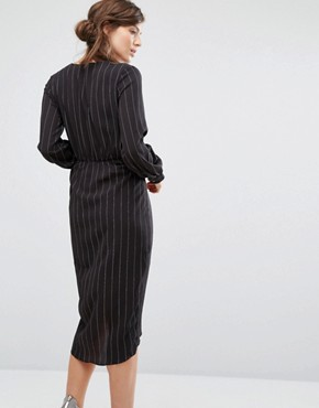 photo Tie Front Long Sleeve Dress In Pinstripe by Parallel Lines, color Black - Image 2