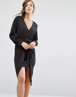 photo Tie Front Long Sleeve Dress In Pinstripe by Parallel Lines, color Black - Image 1