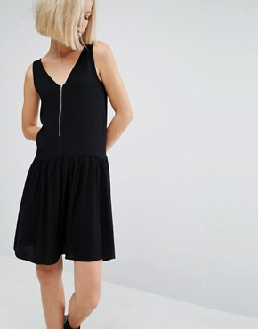 photo Skater Dress with Zip Detail by Moss Copenhagen, color Black - Image 1