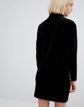 photo Velvet Long Sleeve Dress with Zip Detail by Moss Copenhagen, color Black - Image 2