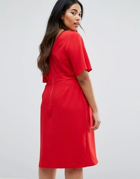 photo Wrap Front Dress by Closet London Plus, color Red - Image 2