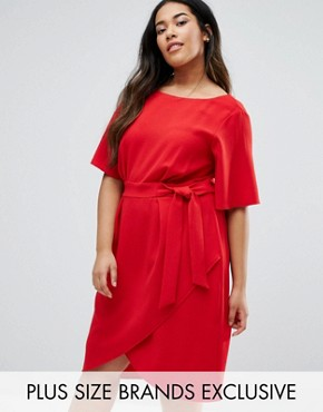 photo Wrap Front Dress by Closet London Plus, color Red - Image 1