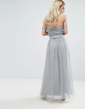 photo Pleated Bust Drape Off Shoulder Maxi Dress by Little Mistress Petite, color Grey - Image 2