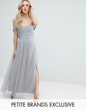photo Pleated Bust Drape Off Shoulder Maxi Dress by Little Mistress Petite, color Grey - Image 1