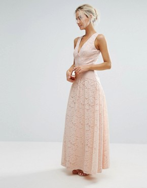 photo Allover Lace Full Prom Maxi Dress by Little Mistress Petite, color Nude - Image 4