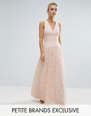 photo Allover Lace Full Prom Maxi Dress by Little Mistress Petite, color Nude - Image 1