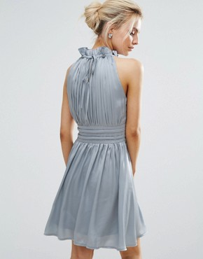 photo Ruched Pleated Mini Prom Skater Dress by Little Mistress Petite, color Dusty Blue - Image 2