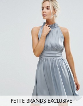 photo Ruched Pleated Mini Prom Skater Dress by Little Mistress Petite, color Dusty Blue - Image 1