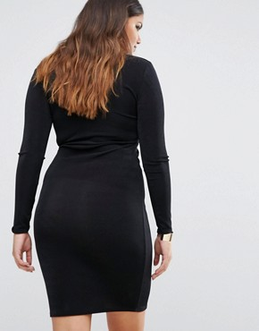 photo Plunge Bodycon Dress by Missguided Plus, color Black - Image 2