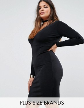 photo Plunge Bodycon Dress by Missguided Plus, color Black - Image 1