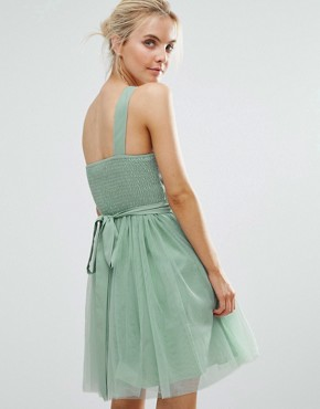 photo Full Prom Tulle One Shoulder Mini Dress with Lace Applique by Little Mistress Petite, color Sage - Image 2