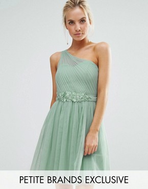 photo Full Prom Tulle One Shoulder Mini Dress with Lace Applique by Little Mistress Petite, color Sage - Image 1