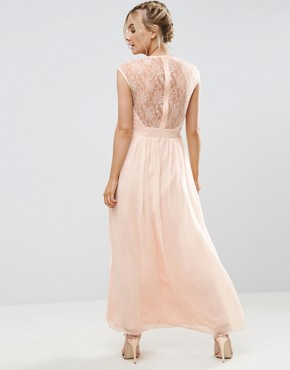 photo Scallop Lace Top Pleated Maxi Dress by Little Mistress Petite, color Nude - Image 2