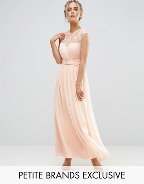 photo Scallop Lace Top Pleated Maxi Dress by Little Mistress Petite, color Nude - Image 1