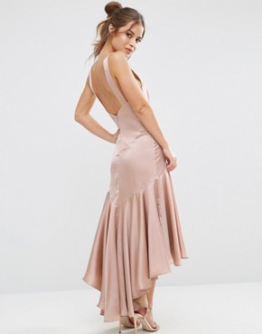 photo Drop Hem Pleated Midi Dress with Cross Back Detail by Jarlo Petite, color Nude - Image 2