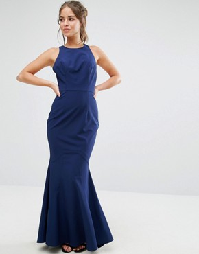 photo Halterneck Maxi Dress with Bow Back Detail by Jarlo Petite, color Navy - Image 2