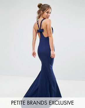 photo Halterneck Maxi Dress with Bow Back Detail by Jarlo Petite, color Navy - Image 1
