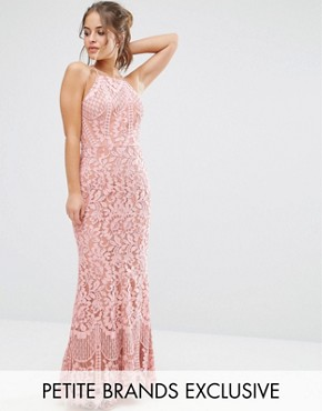 photo Allover Lace High Neck Maxi Dress by Jarlo Petite, color Pink - Image 1
