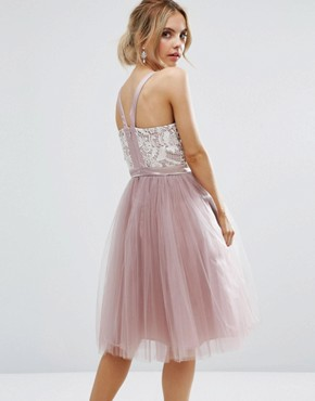 photo Contrast Lace Corset Top Tulle Skirt Prom Dress by Chi Chi London Petite, color Mauve - Image 2