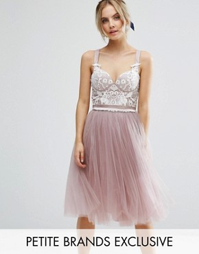 photo Contrast Lace Corset Top Tulle Skirt Prom Dress by Chi Chi London Petite, color Mauve - Image 1