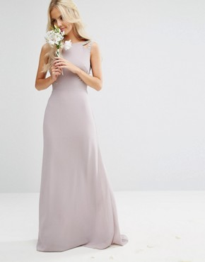 photo High Neck Maxi Dress with Embellished Low Back by TFNC Petite Wedding, color Grey - Image 2