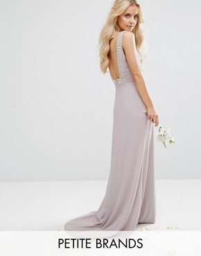 photo High Neck Maxi Dress with Embellished Low Back by TFNC Petite Wedding, color Grey - Image 1