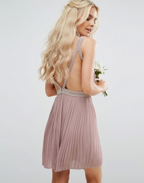 photo Embellished Open Back Mini Prom Skater Dress by TFNC Petite Wedding, color Mauve - Image 2