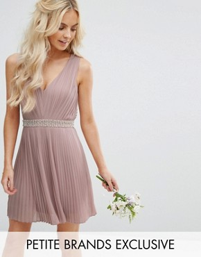 photo Embellished Open Back Mini Prom Skater Dress by TFNC Petite Wedding, color Mauve - Image 1
